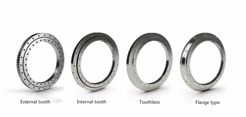 types of most slewing bearings(external tooth/internal tooth/toothless/flange)