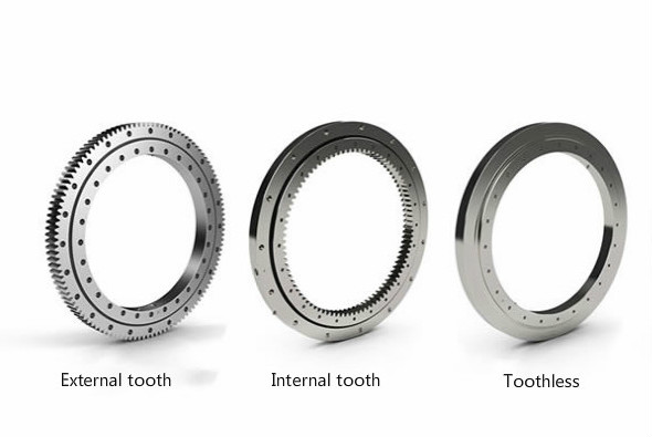 main types of four-point contact ball slewing bearing(external tooth/internal tooth/toothless)